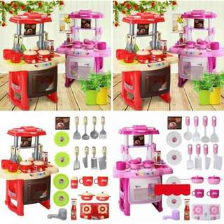 Best sell Big size kitchen set   👏👍pink and red.48cm high  👏with lights and sound