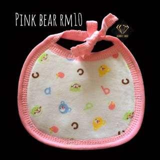 Pink Bear Bandana Cotton Bib