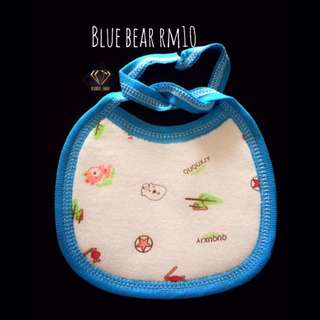 Blue Bear Bandana Cotton Bib