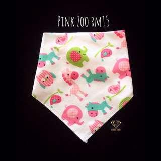 Pink Zoo Triangle Cotton Bib