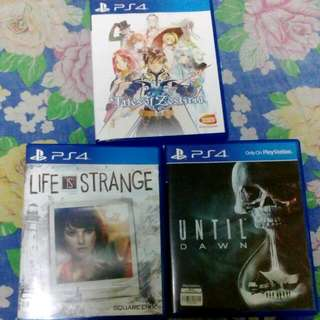 PS4 GAMES (untill Dawn, Life Is Strange & Tales Of Zestiria)