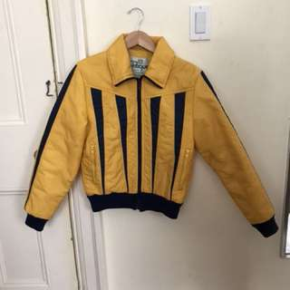 Vintage Yellow Puffer/bomber Jacket