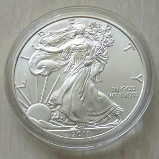 USA 2011 Silver Eagle Dollar Unc Coin In Capsule