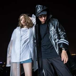 韩国街头风潮牌雨衣男女防晒透明情侣宽松简约雨披成人