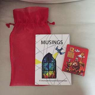 BN Musings - a coloring book inspired by stained glass. Comes with 12 color pencils