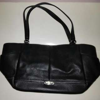 Original Coach Genuine Black Leather Shoulder Bag