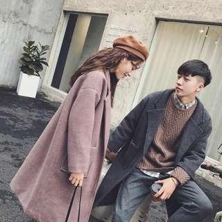风衣男中长款冬季新款毛呢外套韩版潮流情侣呢子大衣冬装原色