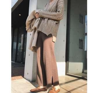 韓版 側開衩高腰顯瘦針織褲