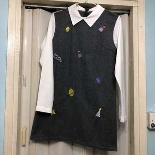 全新拼接連身刺繡呢絨裙 new woollen dress