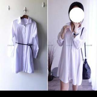 🚚 正韓純白襯衫A字洋裝