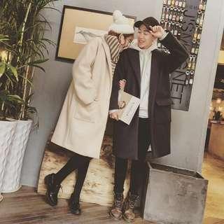情侣装秋冬2017新款韩版呢子大衣中长款男女毛呢风衣外套