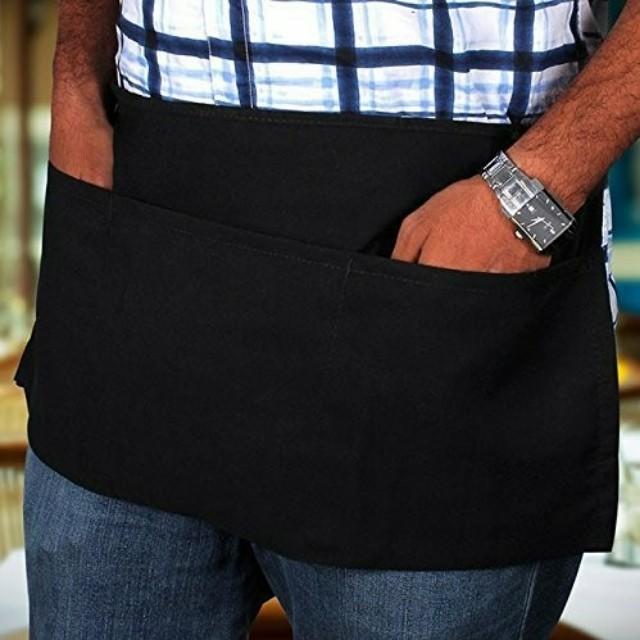 6x Waist Black Aprons 3-Pocket Professional