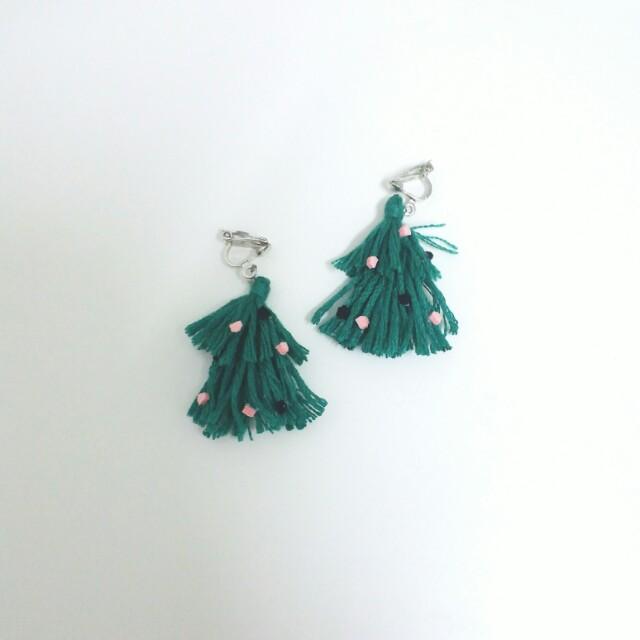聖誕樹耳環耳夾耳針