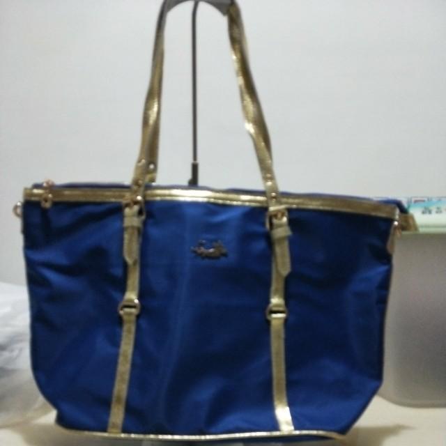藍色款防水布+皮革托特包款