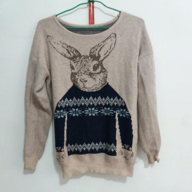 兔兔蓮藕色長袖