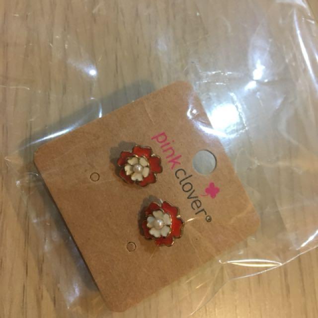 全新花朵珍珠耳環