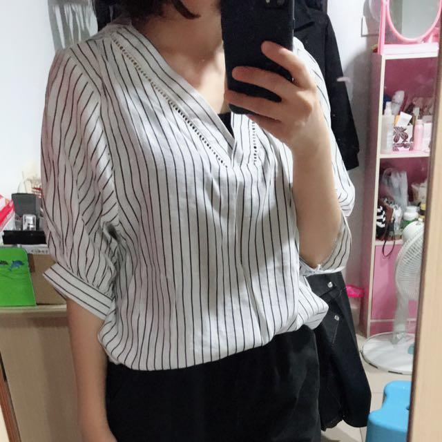 條紋五分袖襯衫
