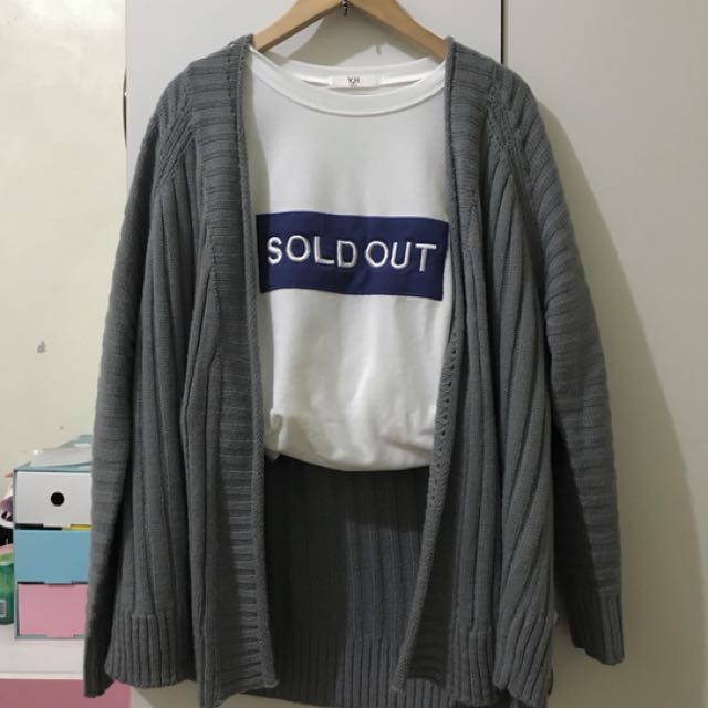 灰色針織罩衫