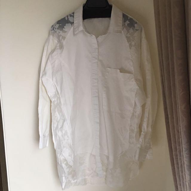 燒花白色襯衫