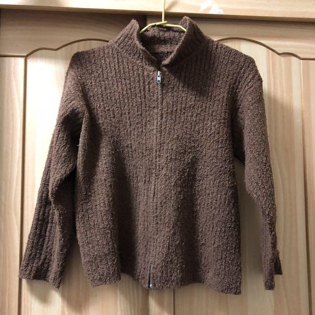 小資女孩👧咖啡色彈性針織外套#冬季衣櫃出清