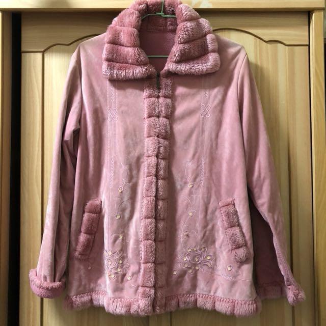 小資女孩👧粉紅絨布鋪棉保暖奢華外套#冬季衣櫃出清