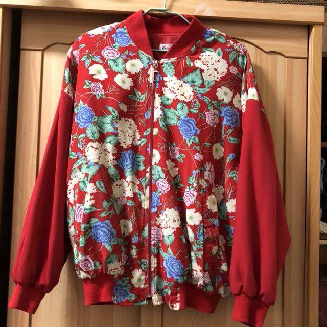 小資女孩👧花漾紅色鋪棉保暖外套#冬季衣櫃出清
