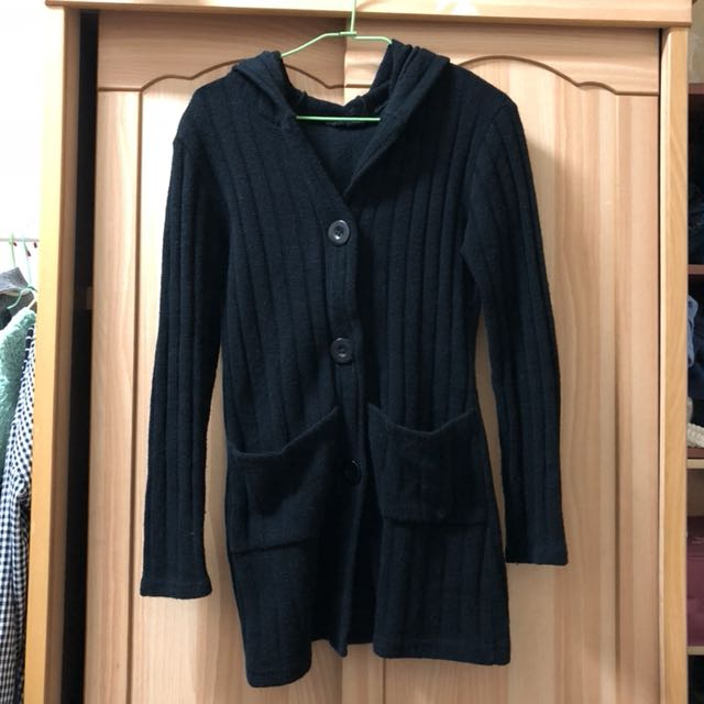 小資女孩👧黑色長版針織連帽外套#冬季衣櫃出清