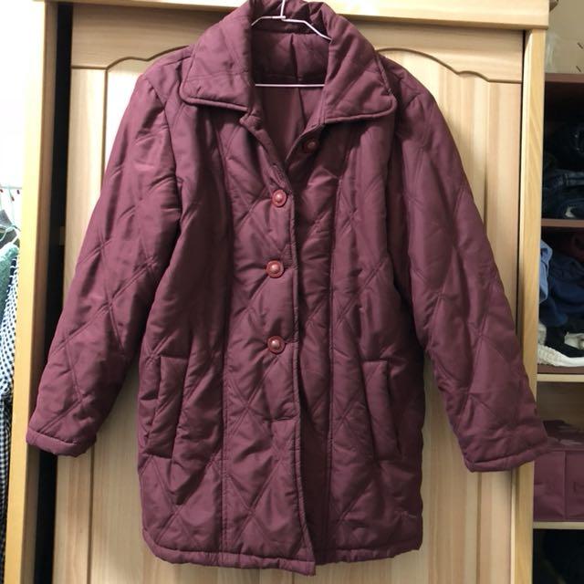 小資女孩👧暗紅長版保暖大衣外套#冬季衣櫃出清