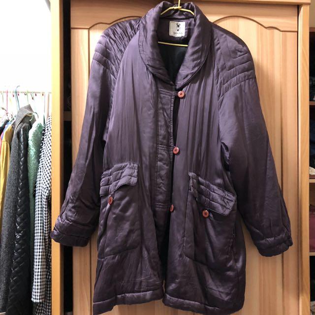 小資女孩👧葡萄紫長版保暖大衣#冬季衣櫃出清