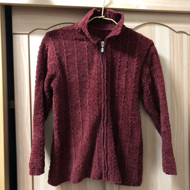 小資女孩👧暗紅針織拉鍊外套#冬季衣櫃出清