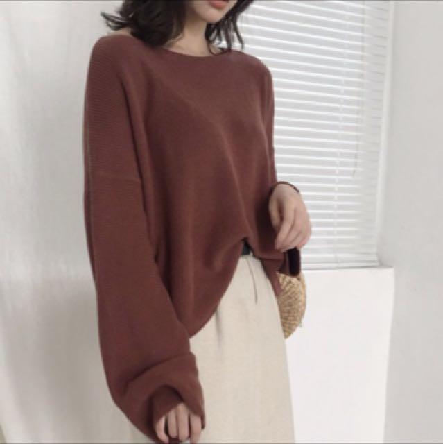 寬袖酒紅色針織毛衣🐙🐙🐙