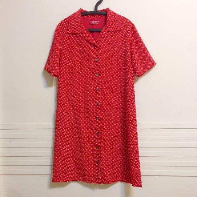 古著紅點點美式洋裝🔴