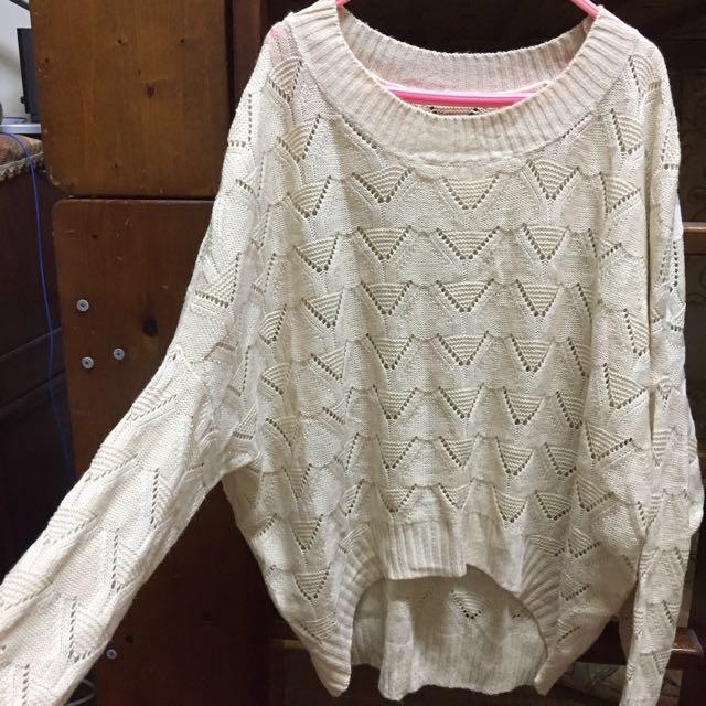 歐美米白色針織鏤空長袖上衣#舊愛換新歡