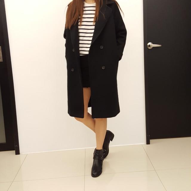 ⭐全新品⭐韓版棉呢/毛呢雙排扣長版大衣外套