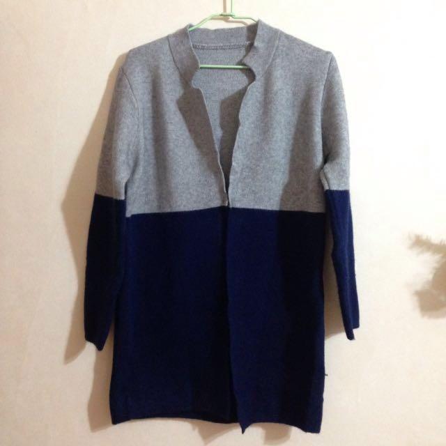 針織開襟暗扣雙色外套罩衫-灰藍 #冬季衣櫃出清