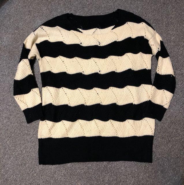 韓風橫條寬鬆毛衣 #冬季衣櫃出清