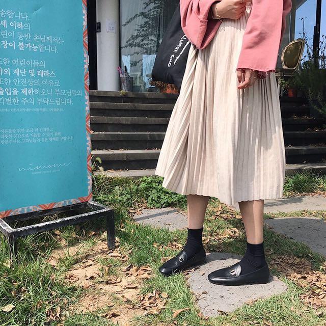 麂皮絨鬆緊長裙 #有超取最好買