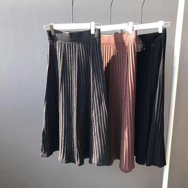 厚針織傘狀長裙  #有超取最好買