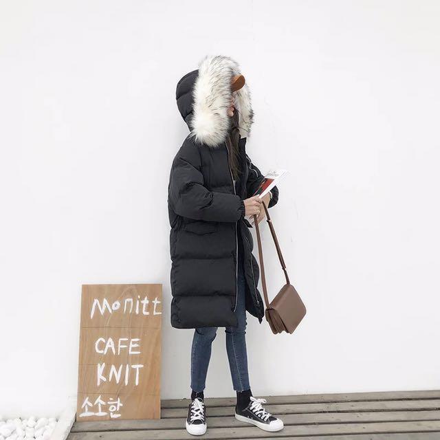毛毛保暖連帽鋪棉大衣外套 #有超取最好買
