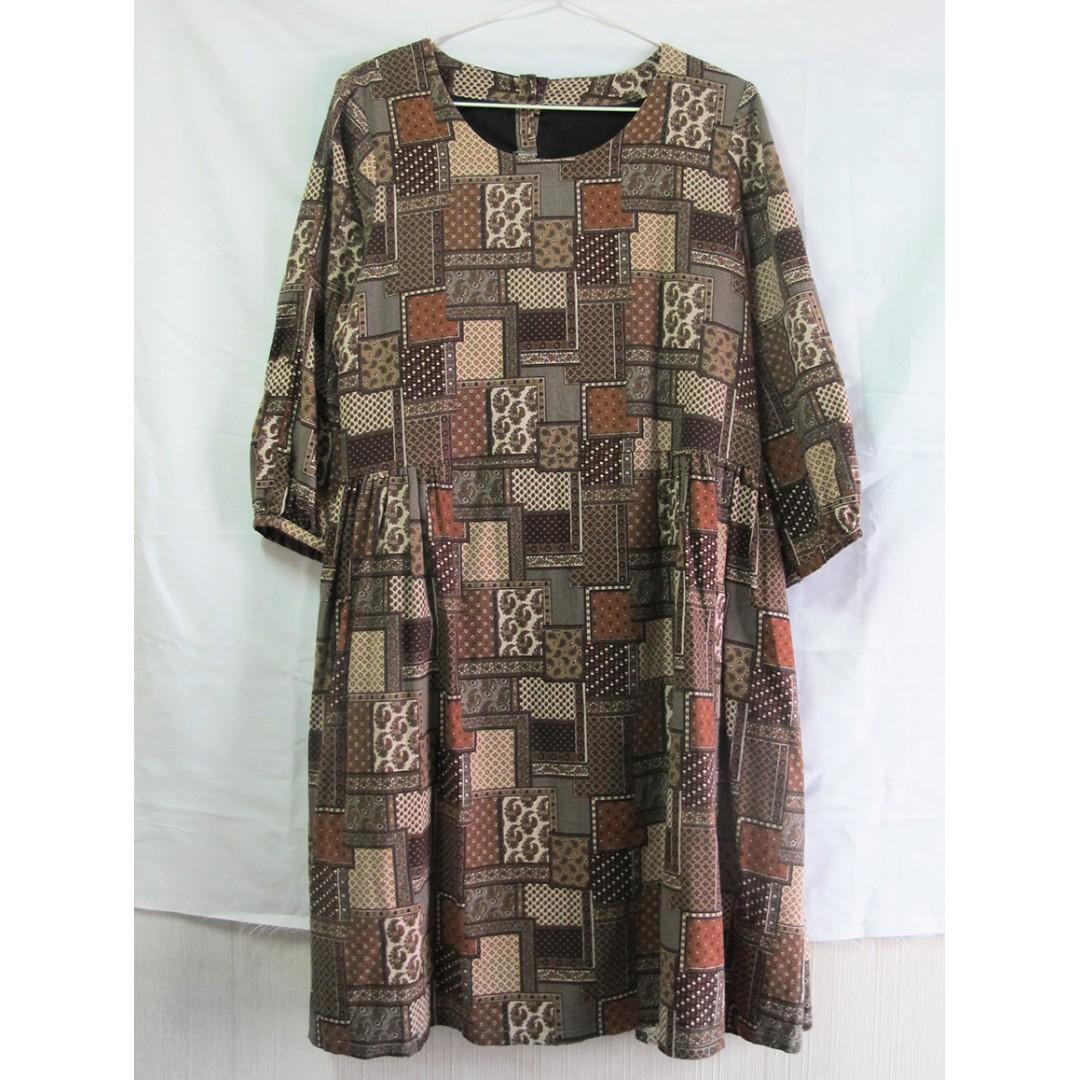 純手工製作 大地色格紋復古洋裝 連身裙