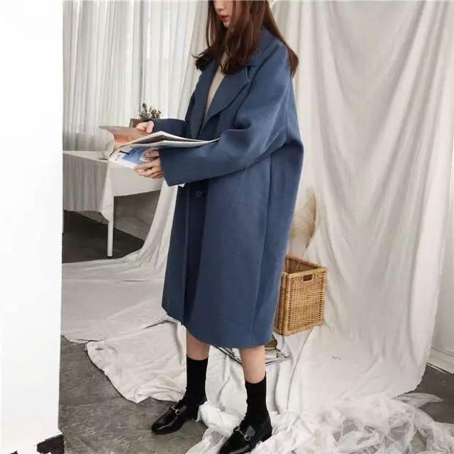韓版 韓妞必備 藍灰 毛呢內鋪棉大衣 毛呢大衣 $990