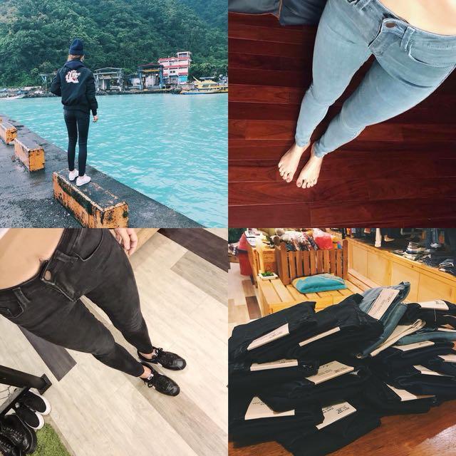 🇺🇸 歐美顯瘦高腰彈性牛仔褲 黑色 深藍色 淺藍色 白色