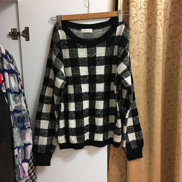 日本 hyphen world gallery 黑白格毛衣 #冬季衣櫃出清