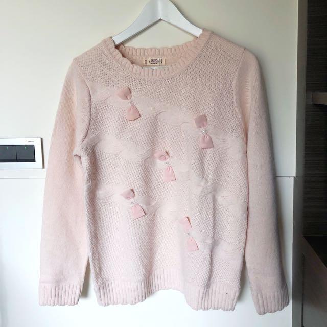 百貨專櫃 POONE 粉色蝴蝶結珍珠水鑽毛衣