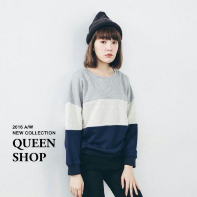 <八成新> Queen Shop 拼接大學T
