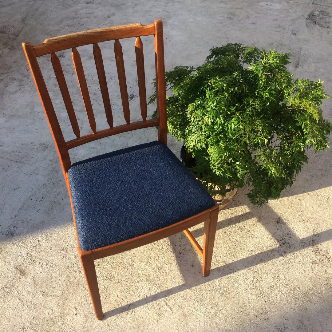 北歐復古單椅 古董/老件/vintage/retro/mid century/chair~非常有味道的椅子,藍色的很美
