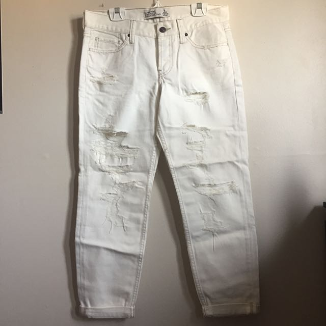 Abercrombie and Fitch White Boyfriend Jeans