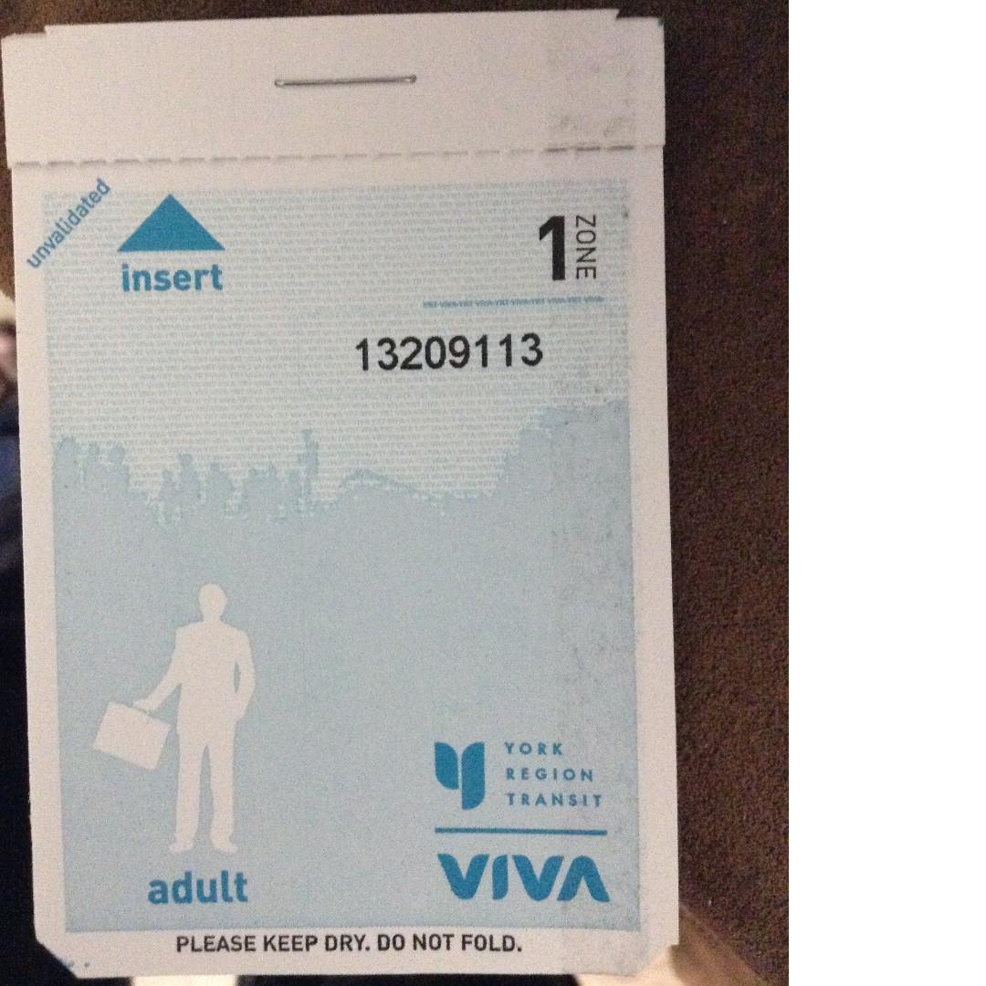 Adult VIVA/YRT Tickets 5 for $10