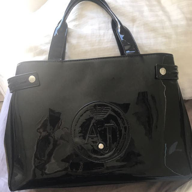 AJ Armani Jeans Patent Leather Shoulder Bag