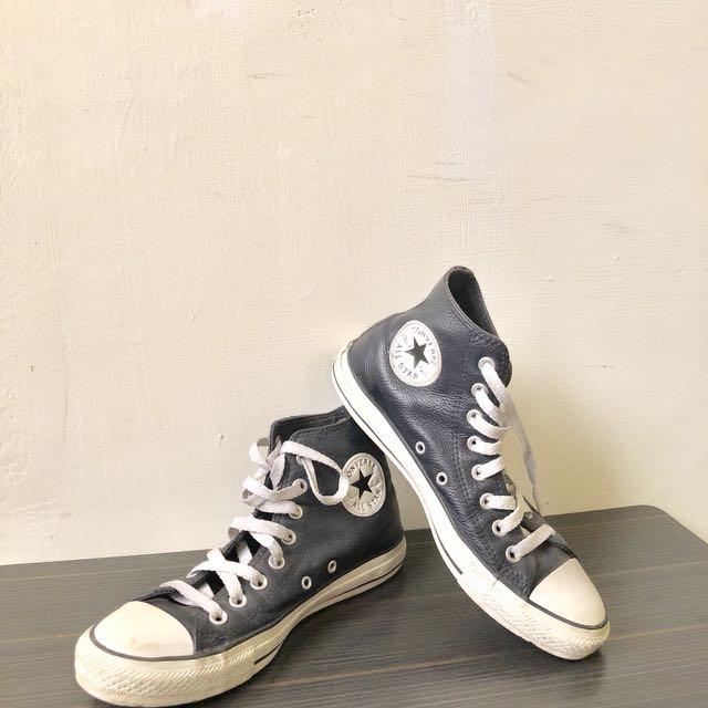 All star Converse 深藍 皮革 高筒帆布鞋